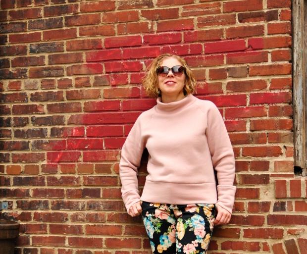 Pink sweatshirt fleece and floral pants