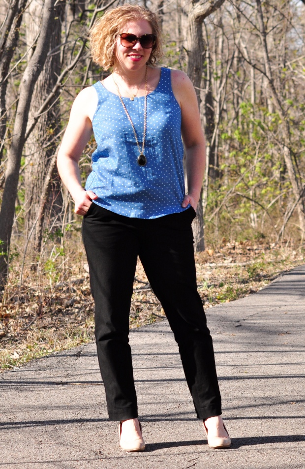 Chambray tank and black crepe trousers