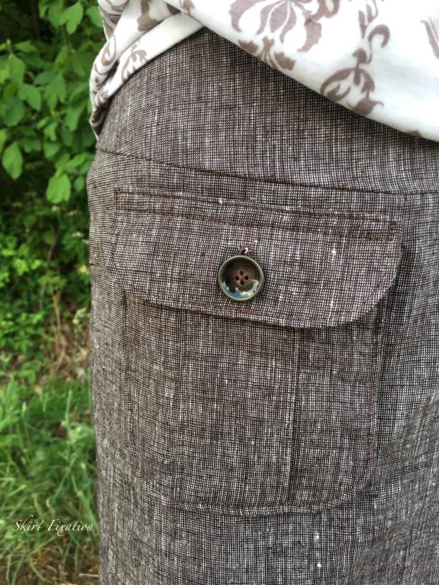Brown Linen Skirt Pocket